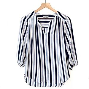 Anthropologie PLEIONE Striped Sleeved Blouse Top S